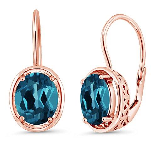 Gem Stone King 3.60 Ct Oval London Blue Topaz 18K Rose Gold Plated Silver Dangle Earrings