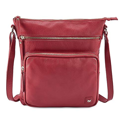 Over Shoulder Bag Handbag - WISE OWL Women's Leather Crossbody Purses and Handbags for-Premium Crossover Bag Over the Shoulders Red