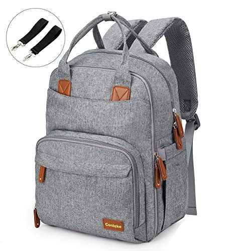 Conleke Diaper Bag backpack Multi-Function Waterproof Travel Backpack Nappy Bags for Baby Care, Stylish and Durable,Many Pocket (Designed for Large Bottles-Grey)