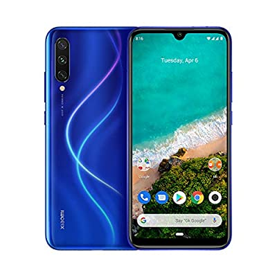 "Xiaomi Mi A3 4G Smartphone, 4 + 64GB, Schermo AMOLED Full-Screen da 6.18"", Tripla fotocamera da 48 + 8 + 2 MP, 4030 mAh, Qualcomm 665 (Versione Global) (Blu)"