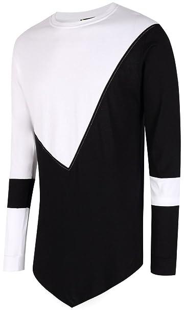 PBZ - Extra larga Hip Hop blanco y negro parche trabajo T Shirt Dress Sudaderas y1738 - 02-xxl: Amazon.es: Ropa y accesorios