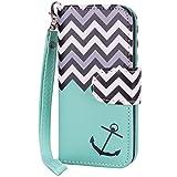 True Color® Magnetic Folio Wave Chevron & Anchor Wristlet Wallet Purse Clutch Case Cover for iPhone 5/5S - Mint Green