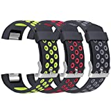 Band for Fitbit Charge 2, UMAXGET Silicone Replacement Sport Strap Wristband for Fitbit Charge 2 Fitness Smart Watch Accessories Pack 3 Small Large