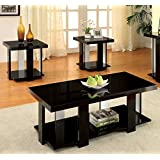 Furniture of America Oslo 3-Piece Modern Accent Tables Set, Black