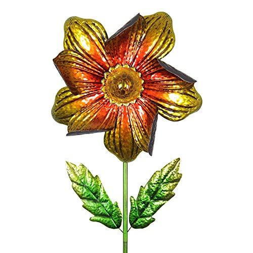 (Exhart Wind Flower Spinner – Orange Flower Garden Stake with Solar Garden Lights – Flower Decor Metal Garden Spinner with Red, Orange Petals and Green Stem 17