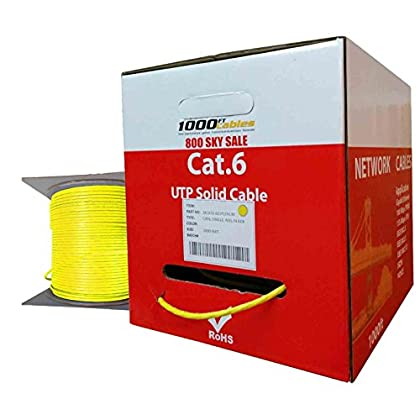 Image of Cat6 Plenum CMP Rated 23AWG (1000 Feet) 550MHz Solid Ethernet Unshielded Twisted Pair (Utp) Networking Cable (Yellow) Cat 6 Cables