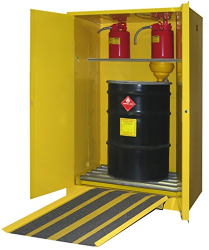 SECURALL V175 Flammable Drum Storage Cabinet, 75 Gallon Cap, 18 Gauge Steel, 65 x 43 x 31 in, 2-Door, 1-Adj. Shelf, FM Approved, OSHA/NFPA Comp. 15 YR Warranty - Yellow