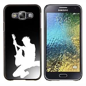 TECHCASE---Cubierta de la caja de protección para la piel dura ** Samsung Galaxy E5 E500 ** --Silueta de la guitarra