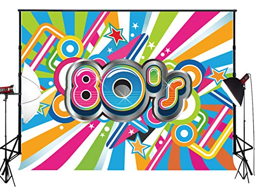 Muzi 7x5ft Hip Hop 80s Theme Photography Backdrop Adults Birthday Party Event Supplies Decoration for Photo Banner Thin Vinyl Background Photocall MZ-1057