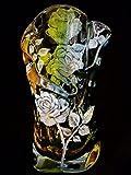 Hand Engraved Vase Roses, Engraved Glass Rose flower, Etched Crystal Vase, Floral vase, Engraved Vase, Home Decor