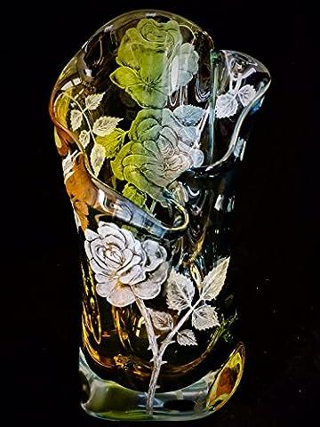 Hand Engraved Vase Roses, Engraved Glass Rose flower, Etched Crystal Vase, Floral vase, Engraved Vase, Home - Floral Etched Crystal