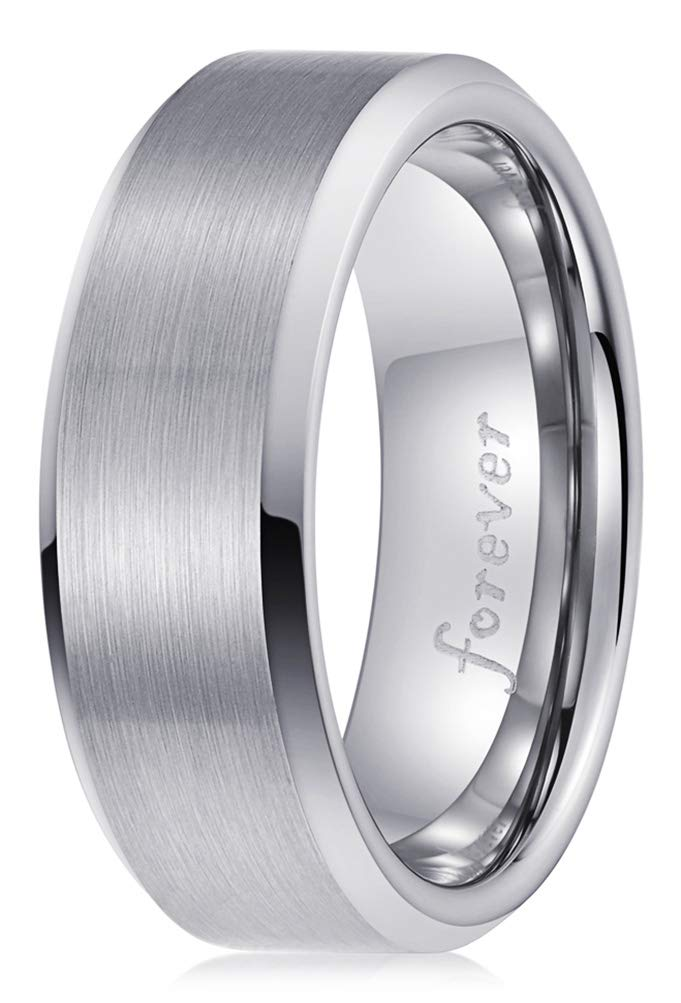 PINONLY Classic Tungsten Carbide Ring Men Women Wedding Band 8mm Engagement Ring Comfort Fit Engraved 'Forever'