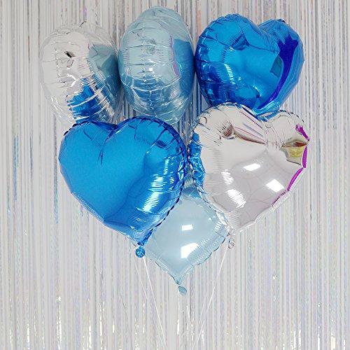 AZOWA Heart Shape Foil Mylar Helium Balloon Blue& Silver& Light Blue Valentine's Party Decoration For Engagement/ Wedding/ Birthday Foil Balloons Set of 30