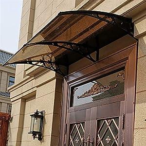 MYHFEQ Ventana de Puerta Toldo al Aire Libre/Puerta Delantera Costura, Puerta Delantera Patio al Aire Libre Sombra Sol, Protección Hoja Hueca para Canopy/UV/Nieve de Lluvia, Soporte Negro
