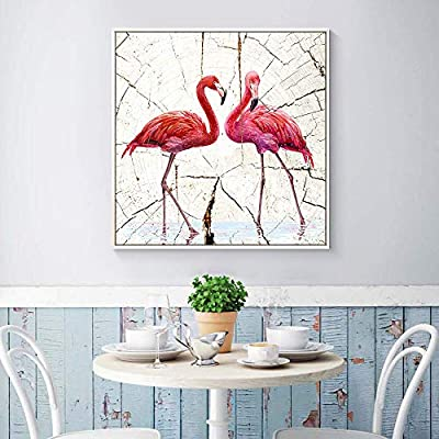 Framed Canvas Wall Art for Living Room, Bedroom Wood Panel Flamingo Illustration Canvas Prints for Home Decoration Ready to Hang - 16x16 inches