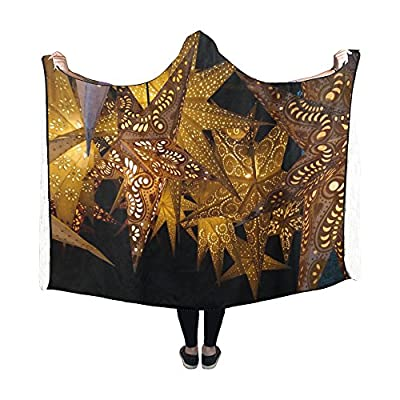 WUTMVING Hooded Blanket Luminous Stars Star Decoration Christmas Blanket 60x50 Inch Comfotable Hooded Throw Wrap