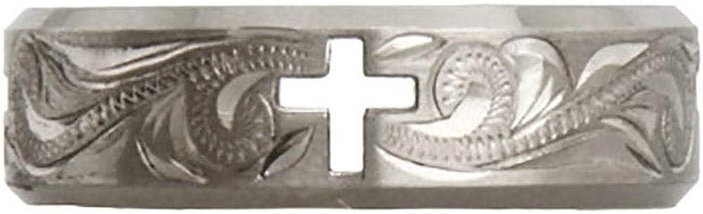 Eves Addiction Engravable Vine Design Cross Cut Out Titanium Ring Final Sale