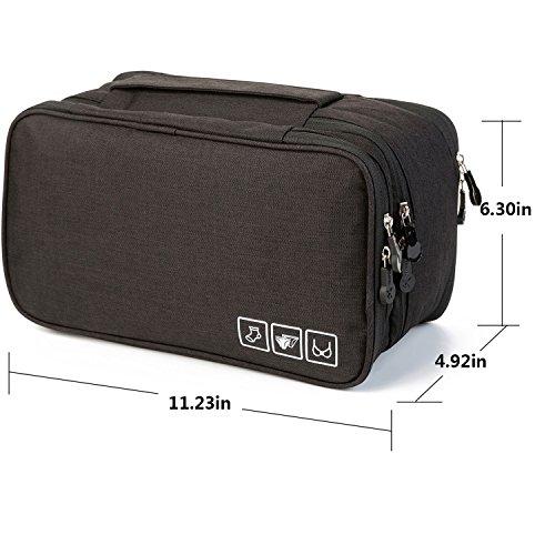 MODARANI Portable Bra Underwear Organizer Travel Toiletry Bag Makeup Organizer Case Black by MODARANI (Image #5)