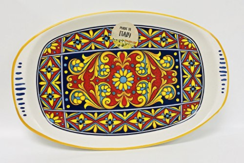 Made In Italy | Vibrant Blue, Yellow, Red Tic-Tac-Toe Design on White Ceramic Plate | Soft Rectangle With Rounded Edges (11.5 inches x 7.5 inches)