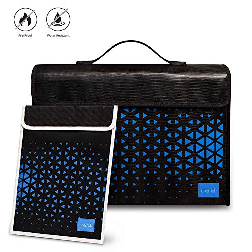 """Fireproof Bag Set of 2 - Fireproof Document Bags 15"""" x 11"""", Fireproof Laptop Bag 16'' x 11'', Non Itchy Silicone Coated Fiber Glass Water Resistant Money Bag Safe Cash, Jewelry Fire Proof Box Envelope"""