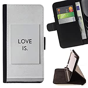 DEVIL CASE - FOR Samsung Galaxy S4 IV I9500 - Love Is Quote Sign Philosophy Relationship - Style PU Leather Case Wallet Flip Stand Flap Closure Cover