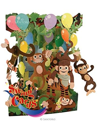 Girls Boys Birthday Card For Childrens Monkey Animals 3D Swing Pop Up Greeting Amazoncouk Clothing