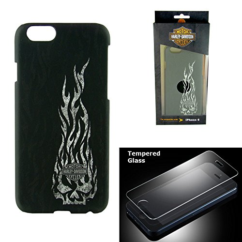 Skull Cover - Harley Davidson iPhone 6s, iPhone 6 Semi Rigid Skull and flames Cover with Tempered Glass Screen Protector.