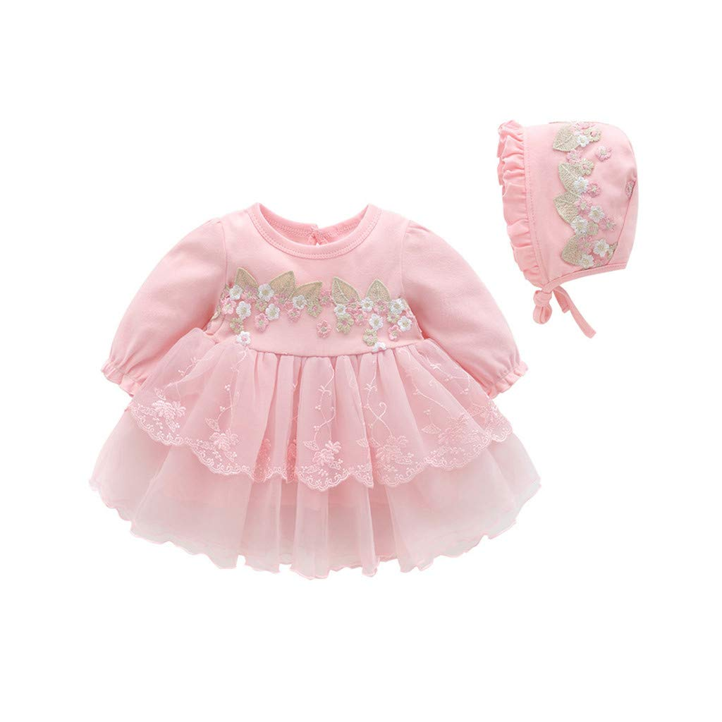 Spring Autumn Infant Baby Girls Lace Princess Dress+Hat, Waymine Clothes 0-18M