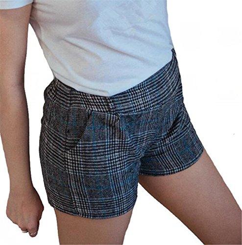 Jwhui Autumn Winter Woolen Shorts Women Fashion 3 Colors Plaid Pattern Stretch Waist Warm Tweed Short Pants D017 Gray M