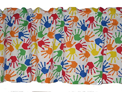 Handmade Colorful Handprints 100% Cotton Back to School Window Curtain Valance]()