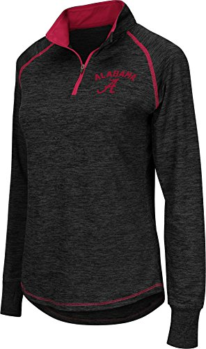 Ladies Crimson Fan - Colosseum Women's Alabama Crimson Tide Black Bikram Quarter-Zip Top (S)