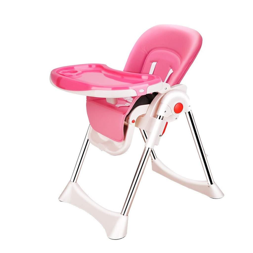 WANGXIAOLIN 赤ちゃんハイチェア、卵殻デザイン保護背骨折りたたみポータブル調節可能なチャイルドシートベビーテーブル送り子供椅子 (色 : ピンク)  ピンク B07PYX7XBB