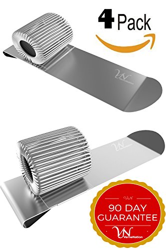 4 PACK - TOP and SIDE FIT Pen Holder Clip SET - FITS ALMOST ANY PEN SIZE - DURABLE Electroplated Metal - Great