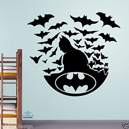Batman with bats wall sticker kids decal children room boys transfer large size 60cm