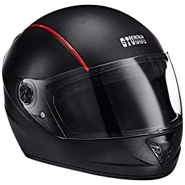Studds Professional Full Face Helmet (Black & Red, Large)