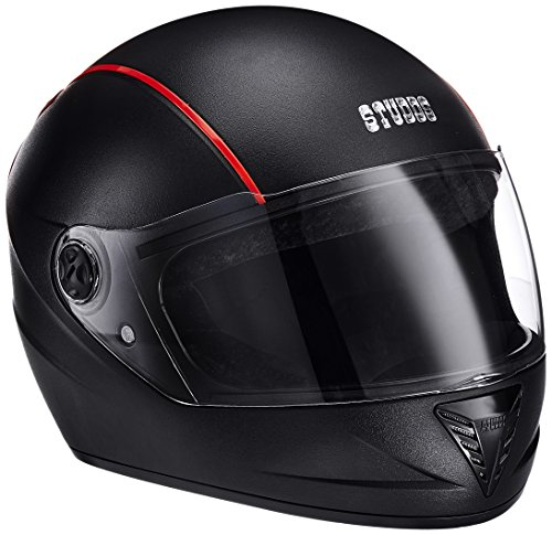 Studds Premium Vent Professional Full Face Helmet (Black and Red, Large)
