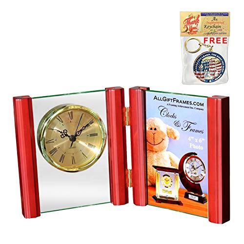Fold frame clock folding book desk clock with 4x6 picture frame plaque wedding commemorative glass photo plaque desk gold clock fits portrait picture photograph birthday retirement service award gift