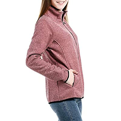Dolcevida Women's Long Sleeve Sweater Fleece Zip Up Speckled Jacket with Pockets at Women's Clothing store