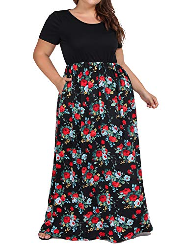 (Plus Size Empire Waist Maxi Dresses,kissmay Tall Flower Print Long Maxi Dress with Sleeves Women's Daily Maxi Dress Short Sleeve Cute Pockets Dresses Long Smocked Rose Floral Dress Black Red Green 3XL)