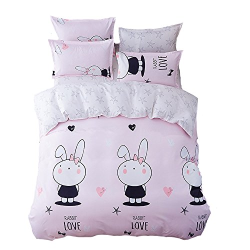 Mumgo Home Bedding Duvet Cover Sets 100% Polyester Soft for Kids Girl Cute Rabbit Starfish Pink Pattern Design Bedding Sets Duvet Cover/Bed Linen(Not Include Comforter)Twin Size
