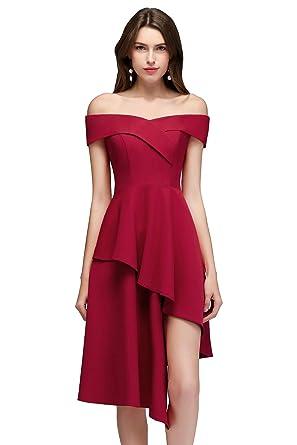 9064a2239cd Babyonlinedress Femme Robe de Soirée Cocktail Courte Asymétrique élastique Epaules  Nues Zip Bordeaux 32