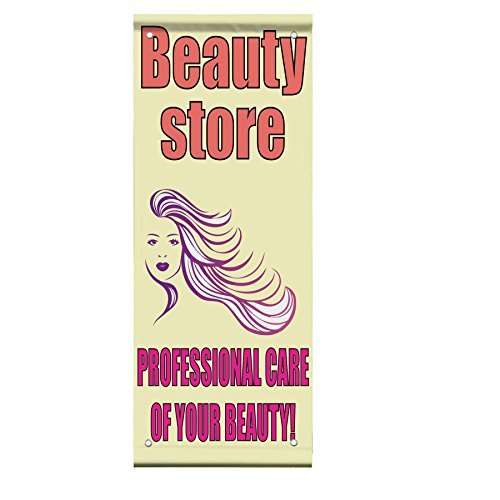 Beauty Store Professional Care Of You Double Sided Vertical Pole Banner Sign 18 in x 26 in w/ Pole Bracket by Fastasticdeals