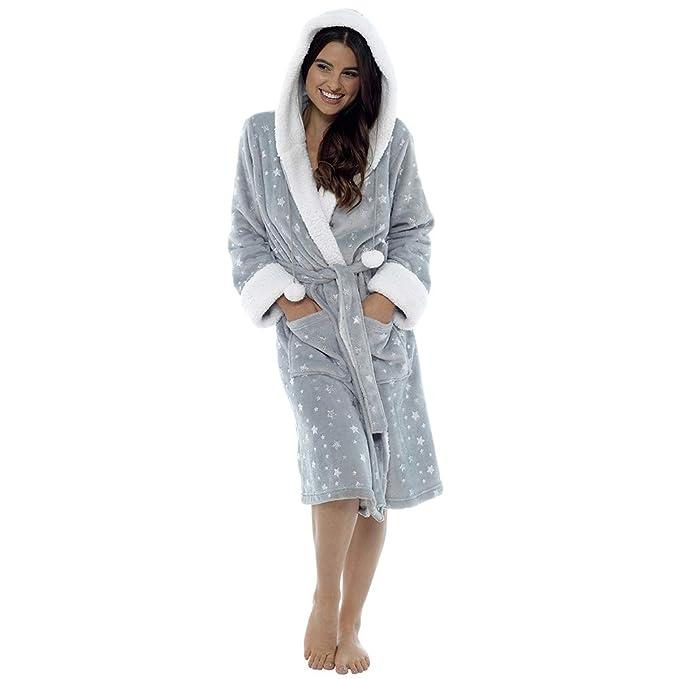 8d323d7c64 Foxbury Womens Star Pattern Faux Fur Fleece Dressing Gown - Light Grey 8-10