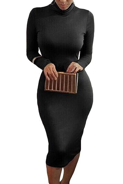 Alaix - Atractivo vestido de cuerpo entero para mujer, con manga larga, cuello alto