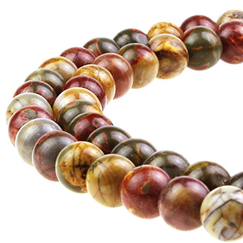 Picasso Bead Bracelet (JARTC Best Sellers Natural Stone Beads Red Picasso Round Loose Beads For Jewelry Making Diy Bracelet Necklace (6mm))