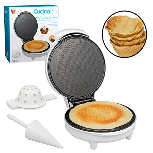Waffle Cone and Bowl Maker- Includes Shaper Roller and Bowl Press- Homemade Ice Cream Cone Iron Machine also makes Stroopwafels