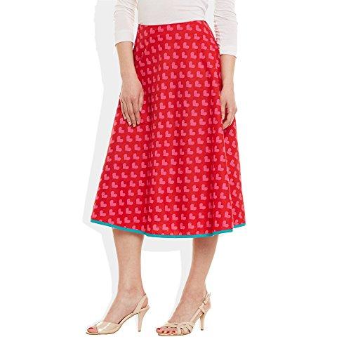ShalinIndia - Falda - para mujer Red Pink