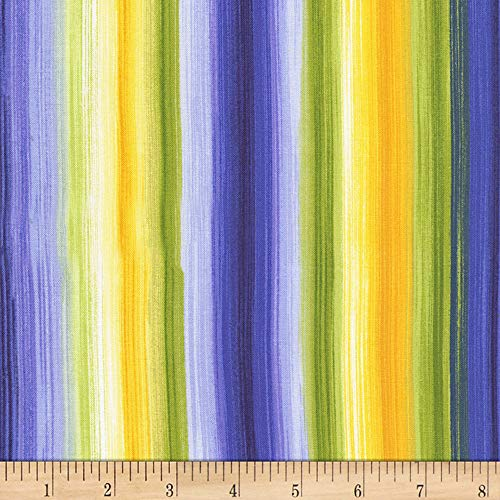 Timeless Treasures Angelica Watercolor Stripe Bright Fabric by The ()