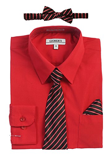 Gioberti Boy's Long Sleeve Dress Shirt and Stripe Zippered Tie Set, Red, Size 14