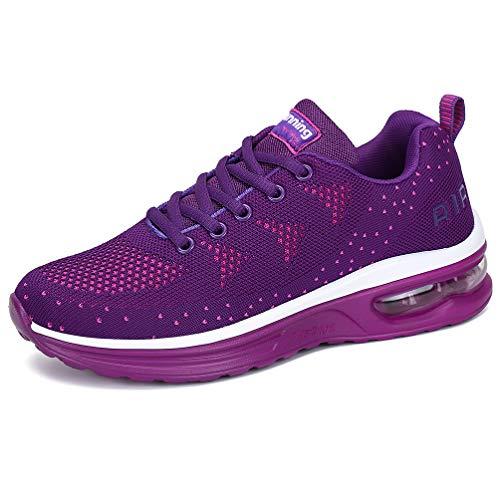RUMPRA Women Sneakers Lightweight Air Cushion Gym Fashion Shoes Breathable Walking Running Athletic Sport(Purple,41) ()